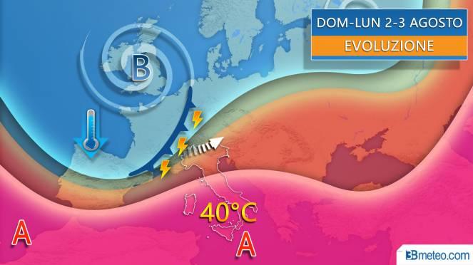 Evoluzione inizio agosto tra caldo intenso e violenti temporali