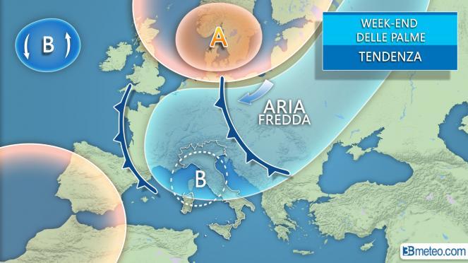 Evoluzione meteo prevista nel weekend delle Palme