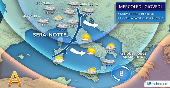 Evoluzione meteo sull'Italia tra mercoledì e giovedì