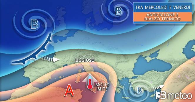 Evoluzione meteo tra mercoledì e venerdì