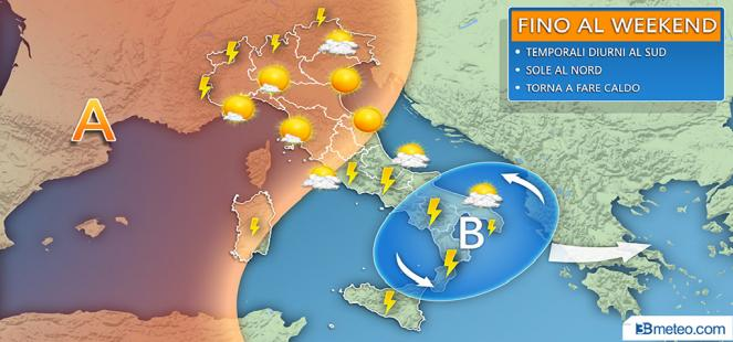 Fino al WEEK-END: disturbi da temporali al Centro-sud, bello al Nord
