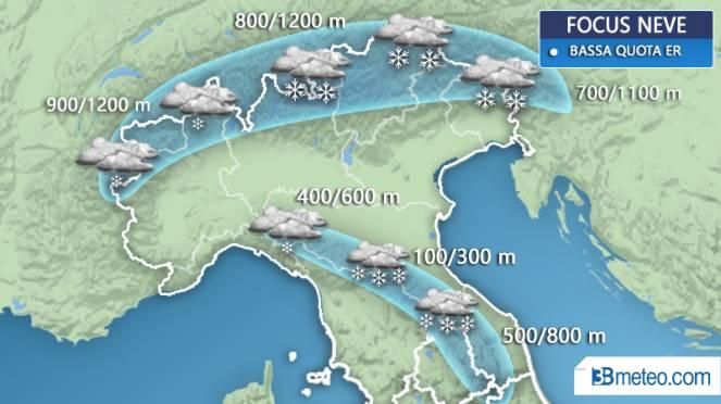Domani neve. Collina e Appennino imbiancato dai 500 m in sù