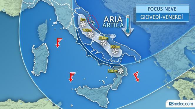 FOCUS NEVE fiocchi a quote molto basse specie sul Medio Adriatico