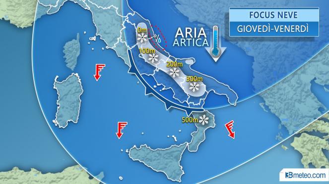 FOCUS NEVE: fiocchi a quote molto basse specie sul Medio Adriatico