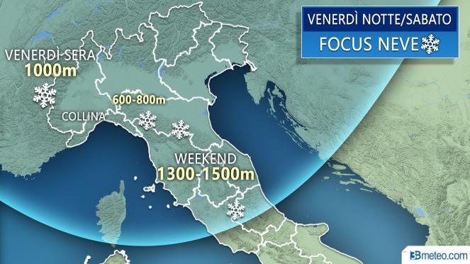 Focus neve venerdì sera/weekend