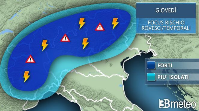 Focus temporali giovedì al Nord