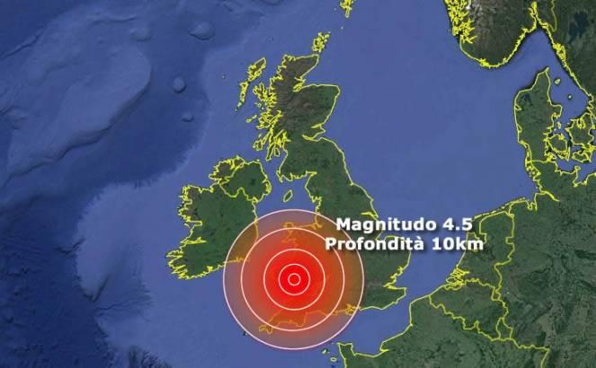 Terremoto Gran Bretagna - Scossa di M. 4.2 al Sud Ovest del paese