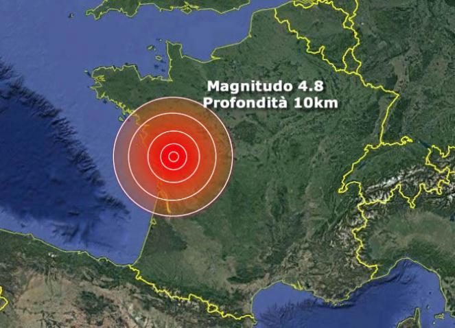 Forte scossa di terremoto di magnitudo 4.8 nella Francia occidentale