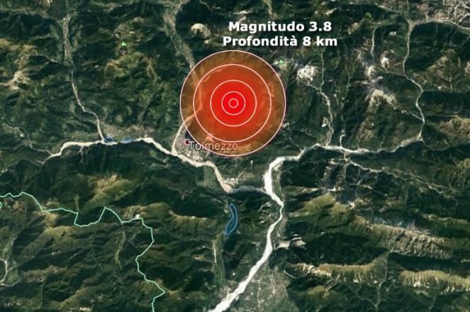 Forte scossa di terremoto in Friuli epicentro Tolmezzo, magnitudo 3.8