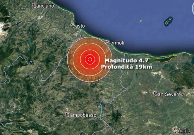 Forte scossa di terremoto in Molise avvertita a Campobasso, Foggia, Napoli