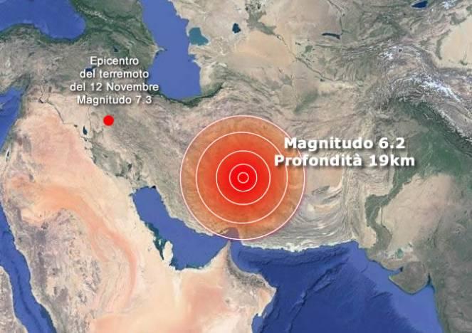 Forte terremoto in Iran di magnitudo 6.2 epicentro vicino kerman