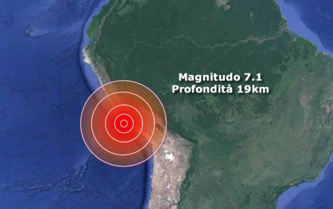 Forte terremoto in Perù scossa di magnitudo 7.1