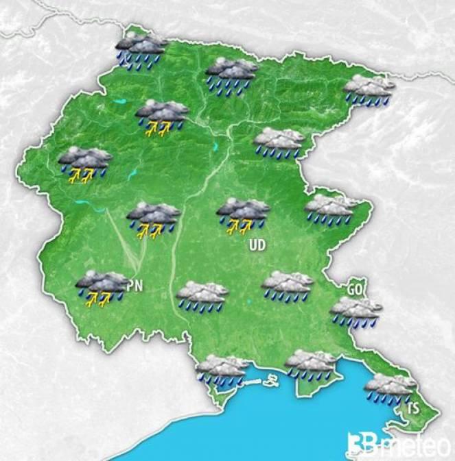 Friuli-VG: giovedì sera-notte rovesci e temporali