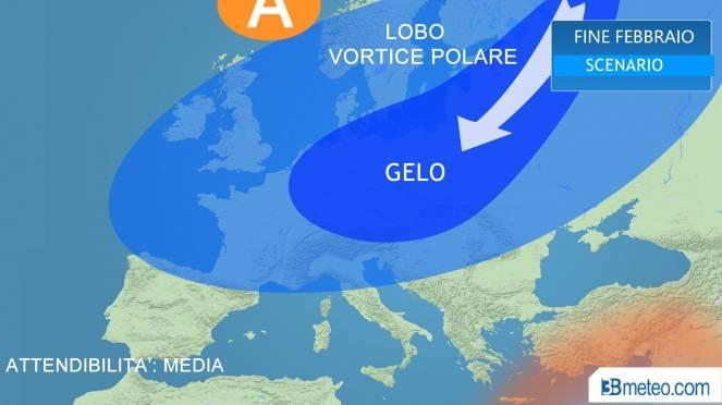 Gelo intenso in Europa con lobo del vortice polare