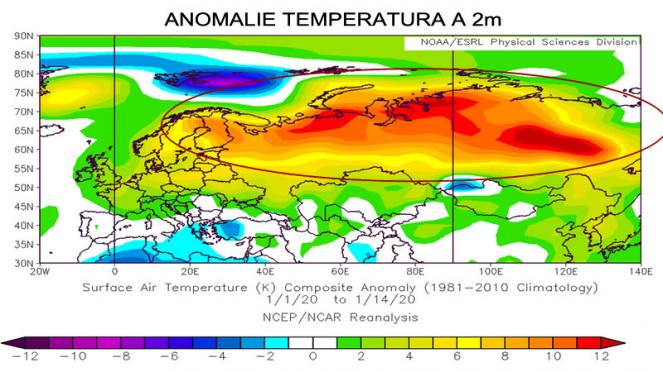 gennaio 2020, temperature sopra media in Europa