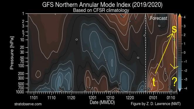 GFS mostra un tentativo di interazione amplificante del segnale troposferico (fonte stratobserve.com)