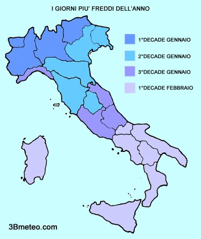 Giorni più freddi dell'anno in Italia