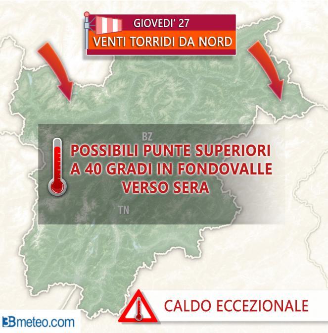 Giovedì 27, caldo eccezionale su Alpi e Trentino Alto Adige con punte di 40 gradi