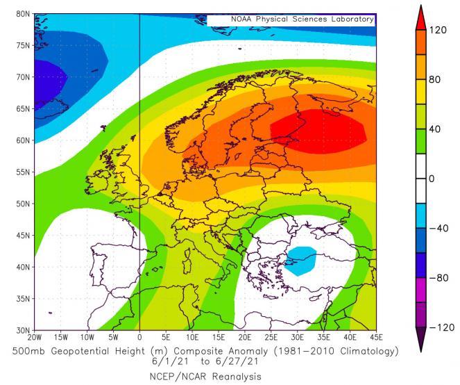 giugno 2021: anomalie geopotenziale a 500 hPa