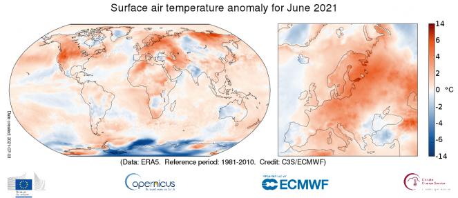 Giugno 2021, il più caldo di sempre per le terre emerse