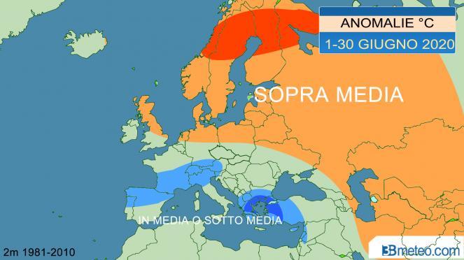 giugno, anomalie temperature a 2m riscontrate in Europa