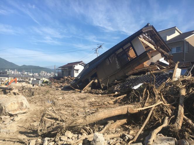 Gli effetti delle disastrose alluvioni nel Giappone occidentale