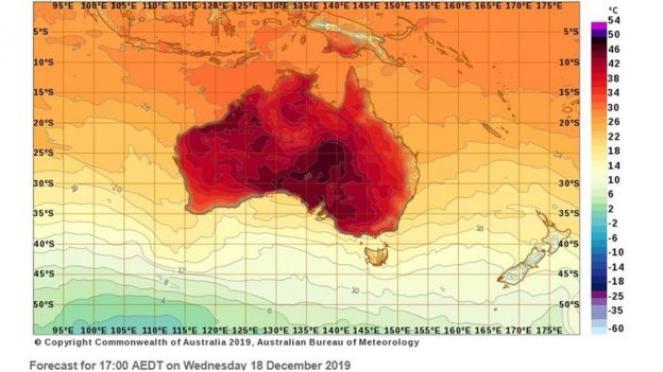 Gran caldo atteso in Australia, massime bel oltre i 40°C