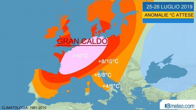 gran caldo in Europa luglio 2019