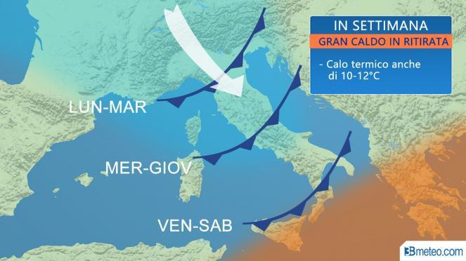 Meteo: super temporali Nord Italia. Caldo 40 gradi altrove