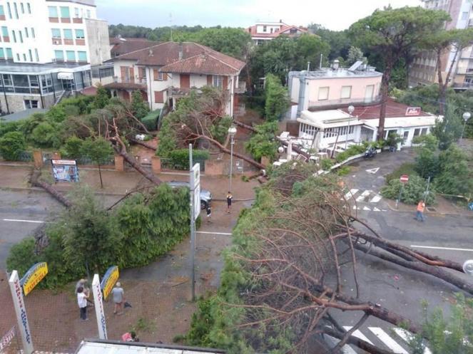 I danni del tornado a Milano Marittima. Fonte Emilia Romagna Meteo