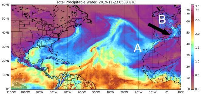 il fiume di umidità penetra sul Mediterraneo