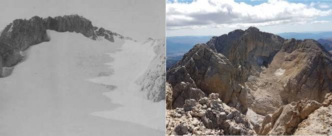 Il ghiacciaio nel 1913 ( Enrico Rovelli) e lo scorso 14 agosto (Paolo Boccabella)