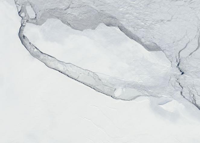 Il gigantesco iceberg staccatosi da Larsen C oltre un anno fa, è ancora li