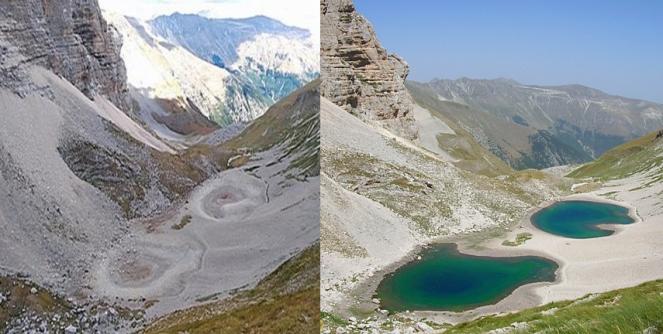 Il Lago Pilato prosciugato a sinistra, e come sarebbe in condizioni normali a destra