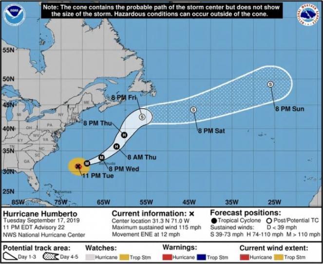 Il percorso che porterà Humberto sul comparto atlantico europeo