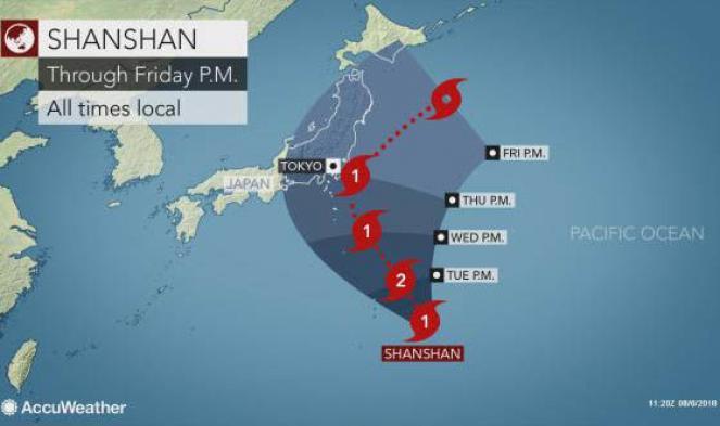 Il percorso del tifone Shanshan (Fonte immagine: Accuweather)