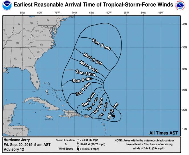 Il percorso dell'uragano Jerry