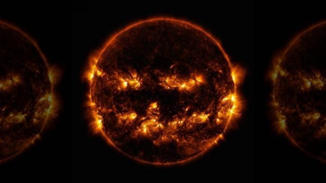 Il sole ha l'aspetto di una zucca di Halloween in una foto del 29 ottobre