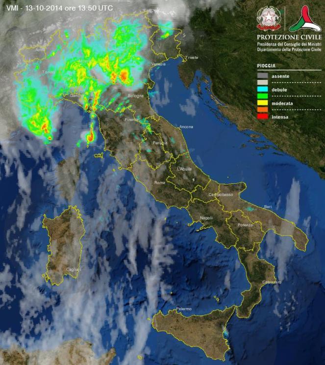 Immagine radar piogge in atto