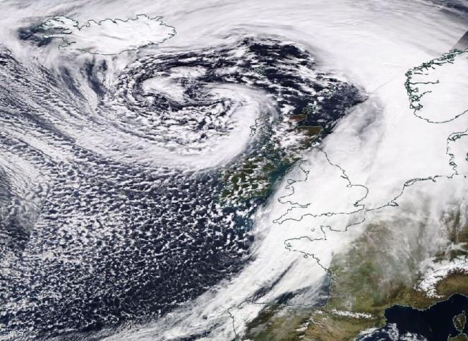 Immagine satellitare della tempesta Gareth. Fonte: worldview.earthdata.nasa.gov