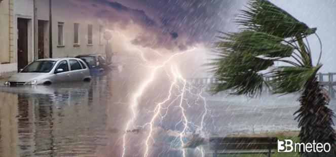 Imminente maltempo con temporali, nubifragi, grandine e colpi di vento