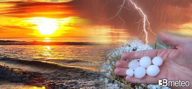 Inizio settimana movimentato con forti temporali e grandine