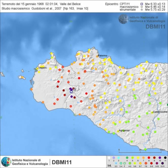 Intensità del Sisma della Sicilia occidentale (fonte ingv)