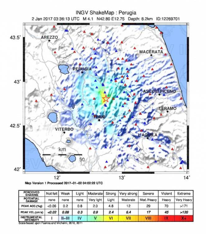 Intensità del sisma: INGV