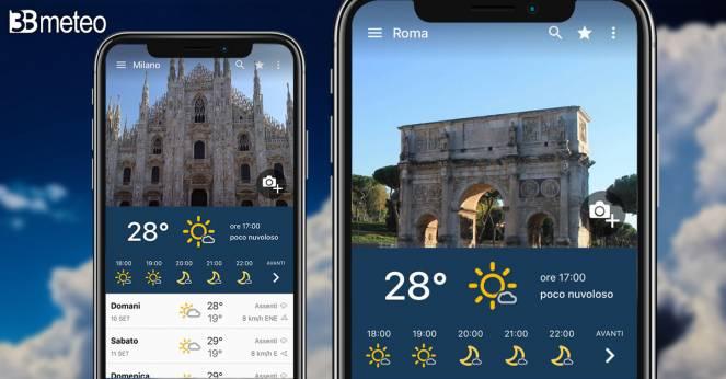 L'app di 3bmeteo si arricchisce di nuovi sfondi