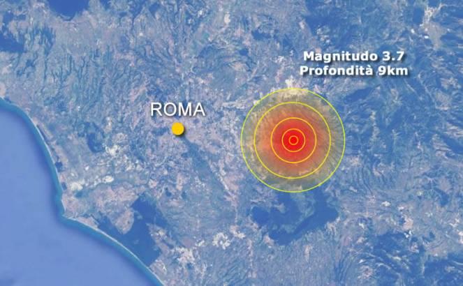 L'epicentro del terremoto avvertito a Roma e soprattutto a Tivoli