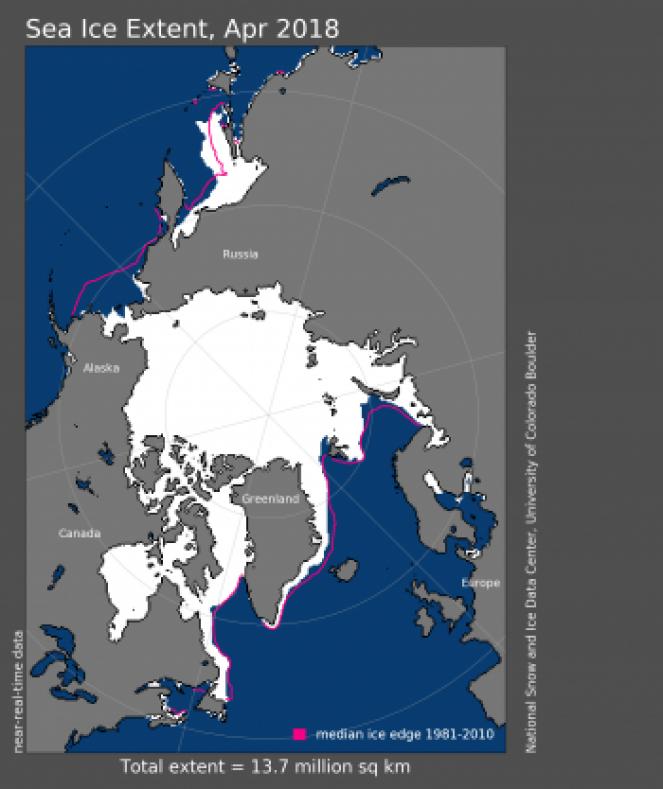 L'estensione del ghiaccio artico nel mese di Aprile 2018