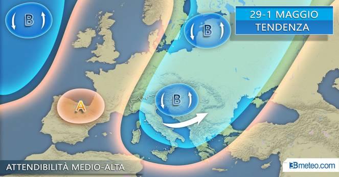 L'evoluzione meteorologica attesa tra fine aprile e inizio maggio in Italia