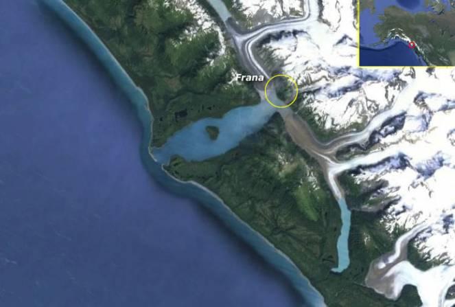 La Lituya Bay vista dal satellite