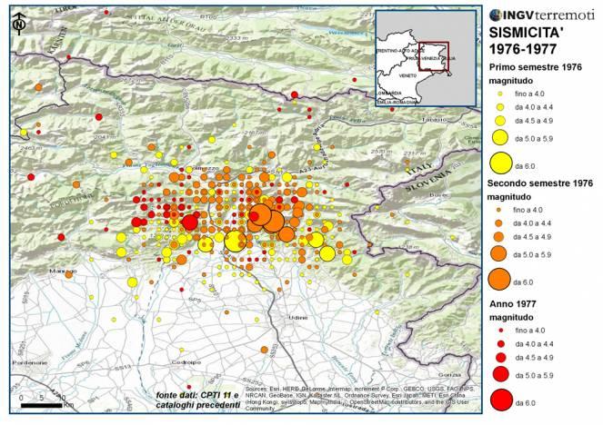 La lunga sequenza sismica del terremoto del Friuli del 1976